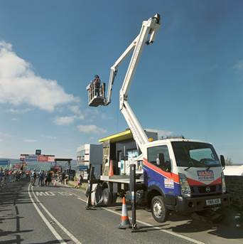 AFIs sister company Wilson Access Truck Mount provides close up views of Tour de Yorkshire Cycle Race